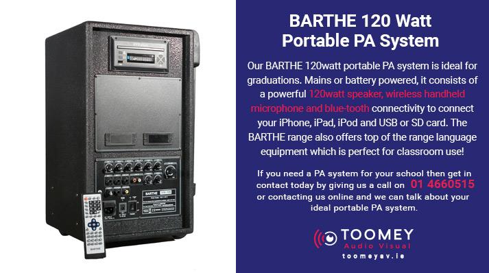 BARTHE 120 Watt Portable PA System for Schools - Toomey AV