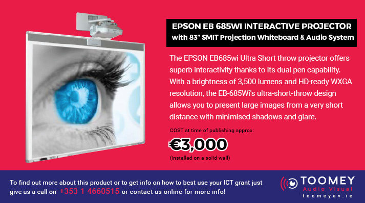 EPSON EB 685Wi Interactive Projector with 83 inch SMIT Projection Whiteboard & Audio System