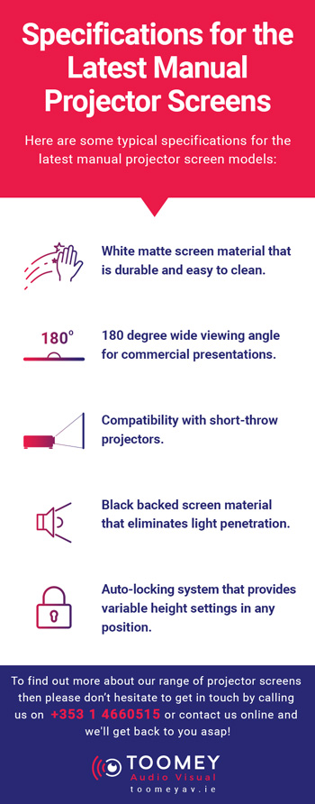 Specifications for the Latest Manual Projector Screens - Toomey Audiovisual
