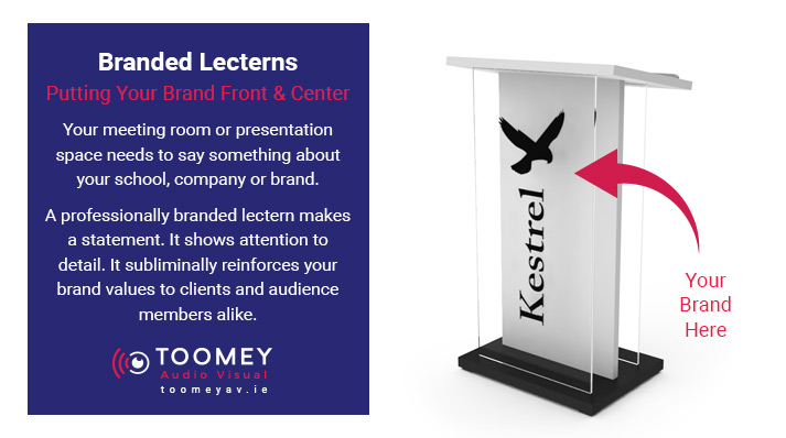 Company Branded Lectern - Branded Podiums - ToomeyAV Ireland