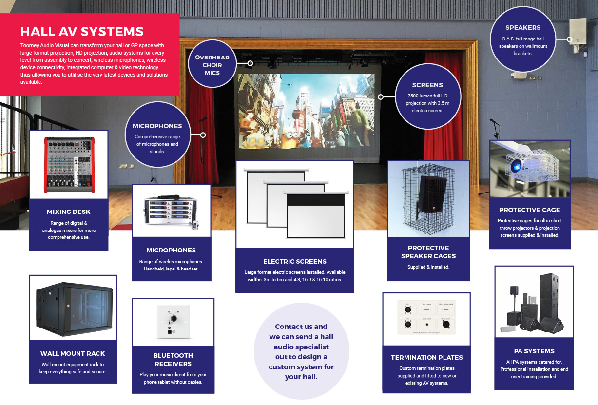 School Hall AV System - Computer, Video, Audio - Toomey Audiovisual Ireland