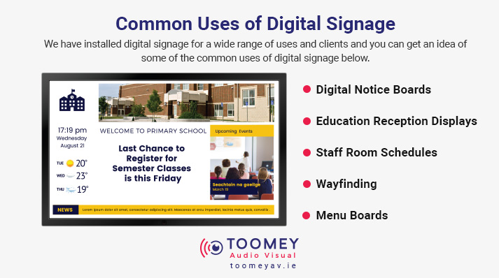 Uses Digital Signage Primary Schools - Toomey AV Dublin